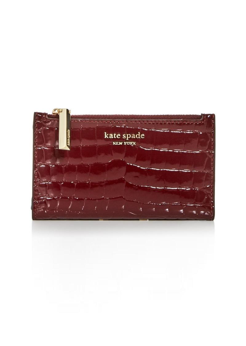 kate spade new york Sylvia Croc-Embossed Slim Bi-Fold Wallet