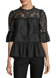 kate spade new york tapestry lace bell-sleeve peplum top