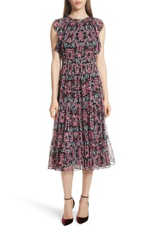 kate spade new york tapestry silk chiffon midi dress