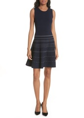 kate spade new york textured fit & flare sweater dress