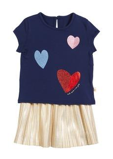 kate spade new york tossed hearts t-shirt w/ metallic skirt set  size 12-24 months