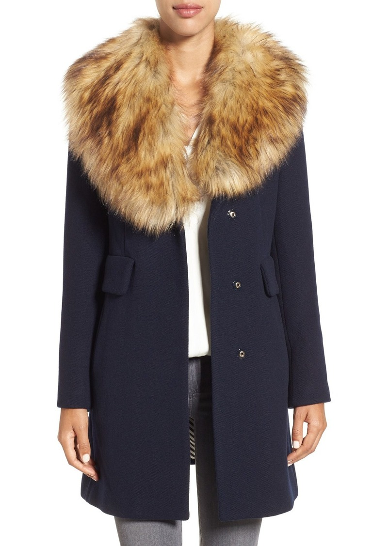 kate spade new york twill coat with faux fur collar