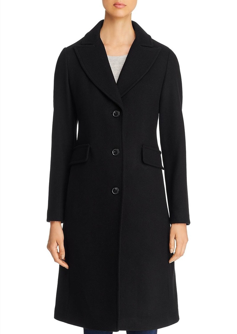 kate spade new york Twill Peaked Lapel Long Coat