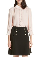 kate spade new york velvet trim pearly button shirt