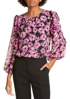 kate spade new york wallflower metallic detail silk blouse