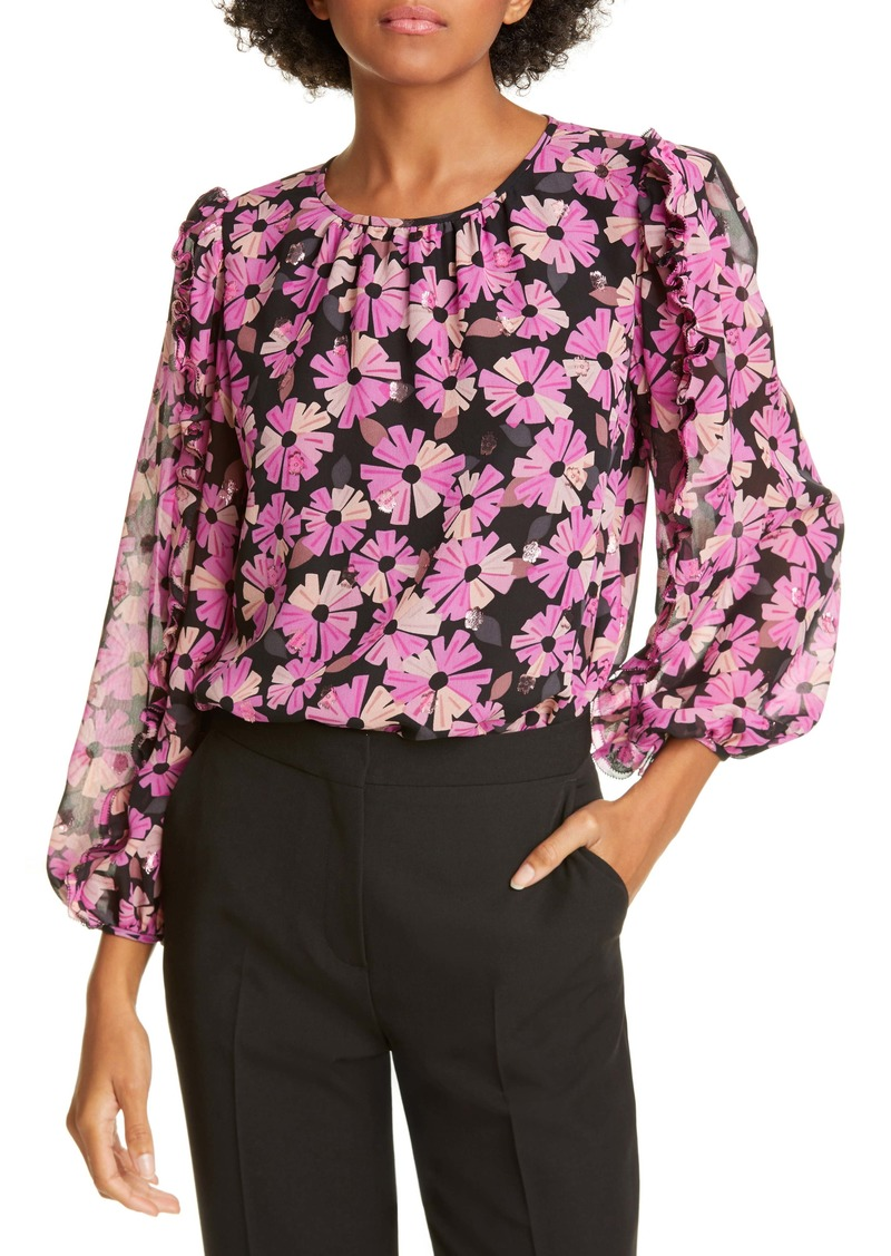 kate spade new york wallflower metallic detail silk blouse