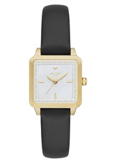 kate spade new york 'washington' square leather strap watch, 25mm