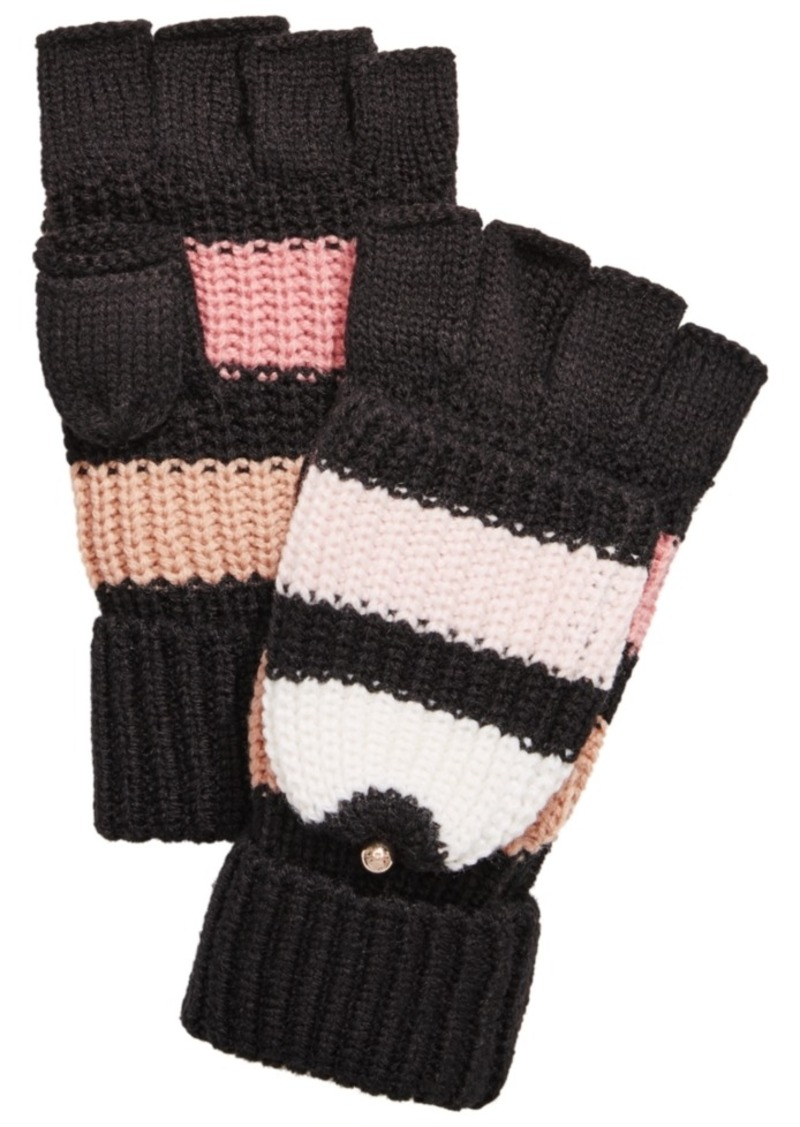 Kate Spade New York Wide Stripe Pop Top Mittens