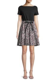 Kate Spade wildflower mixed-media a-line dress