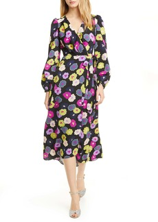kate spade new york winter garden long sleeve wrap dress