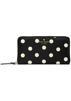 Kate Spade New York Woman Lacey Polka-dot Faux Textured-leather Wallet Black