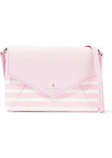 Kate Spade New York Woman Monday Striped Faux Textured-leather Shoulder Bag Baby Pink