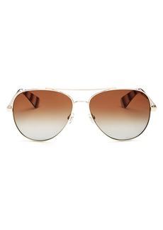 kate spade new york Women's Avaline Brow Bar Aviator Sunglasses, 58mm