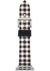 kate spade new york Women's Black & White Gingham Silicone Apple Watch Strap