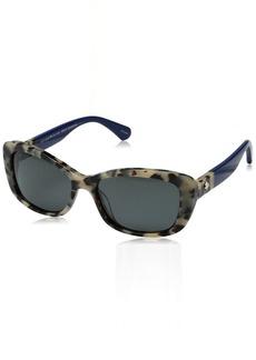 Kate Spade New York Women's Claretta Polarized Rectangular Sunglasses HAVANA BLUE