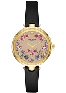 kate spade new york Women's Holland Black Leather Strap Watch 34mm