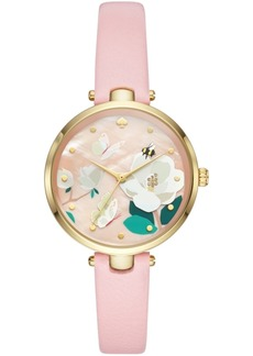kate spade new york Women's Holland Pink Leather Strap Watch 34mm