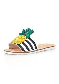 kate spade new york Women's Icarus Studded Leather Pineapple Slide Sandals
