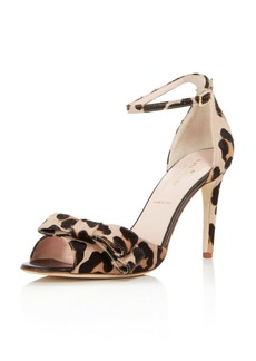 kate spade new york Women's Ismay Leopard Print Calf Hair High-Heel Bow Sandals