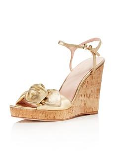 kate spade new york Women's Janae Metallic Leather Platform Wedge Sandals
