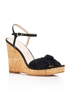 kate spade new york Women's Janae Suede Knotted Platform Wedge Sandals