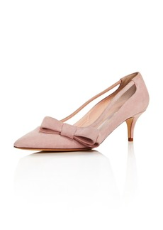 kate spade new york Women's Mackenzie Suede Bow Mid-Heel Pumps