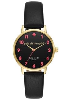 kate spade new york Women's Metro Black Leather Strap Watch 34mm