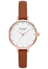 kate spade new york Women's Metro Brown Leather Strap Watch 34mm