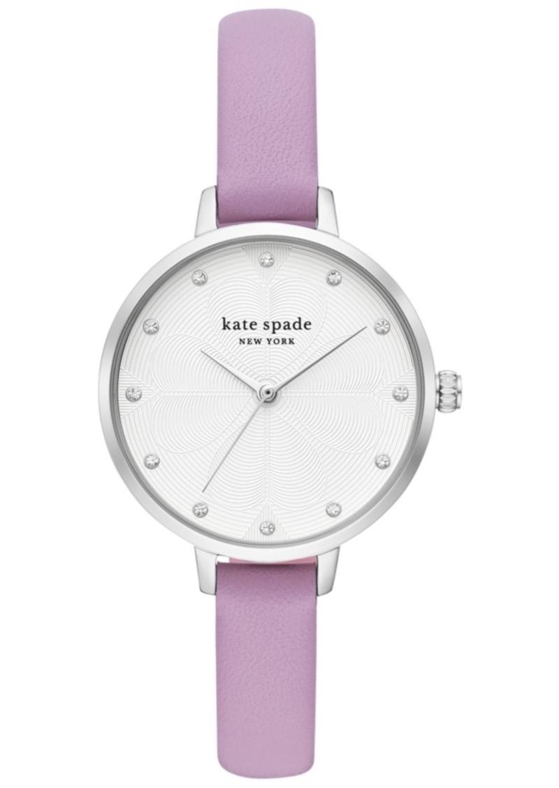 kate spade new york Women's Metro Purple Leather Strap Watch 34mm