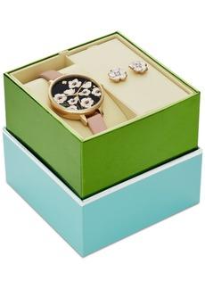 kate spade new york Women's Metro Vachetta Leather Strap 34mm Watch & Earrings Box Gift Set