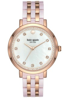 kate spade new york Women's Monterey Rose Gold-Tone Stainless Steel and Blush Pink Acetate Bracelet Watch 38mm KSW1264