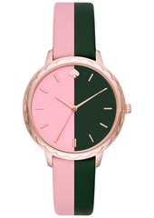 kate spade new york Women's Morningside Pink & Black Leather Strap Watch 38mm