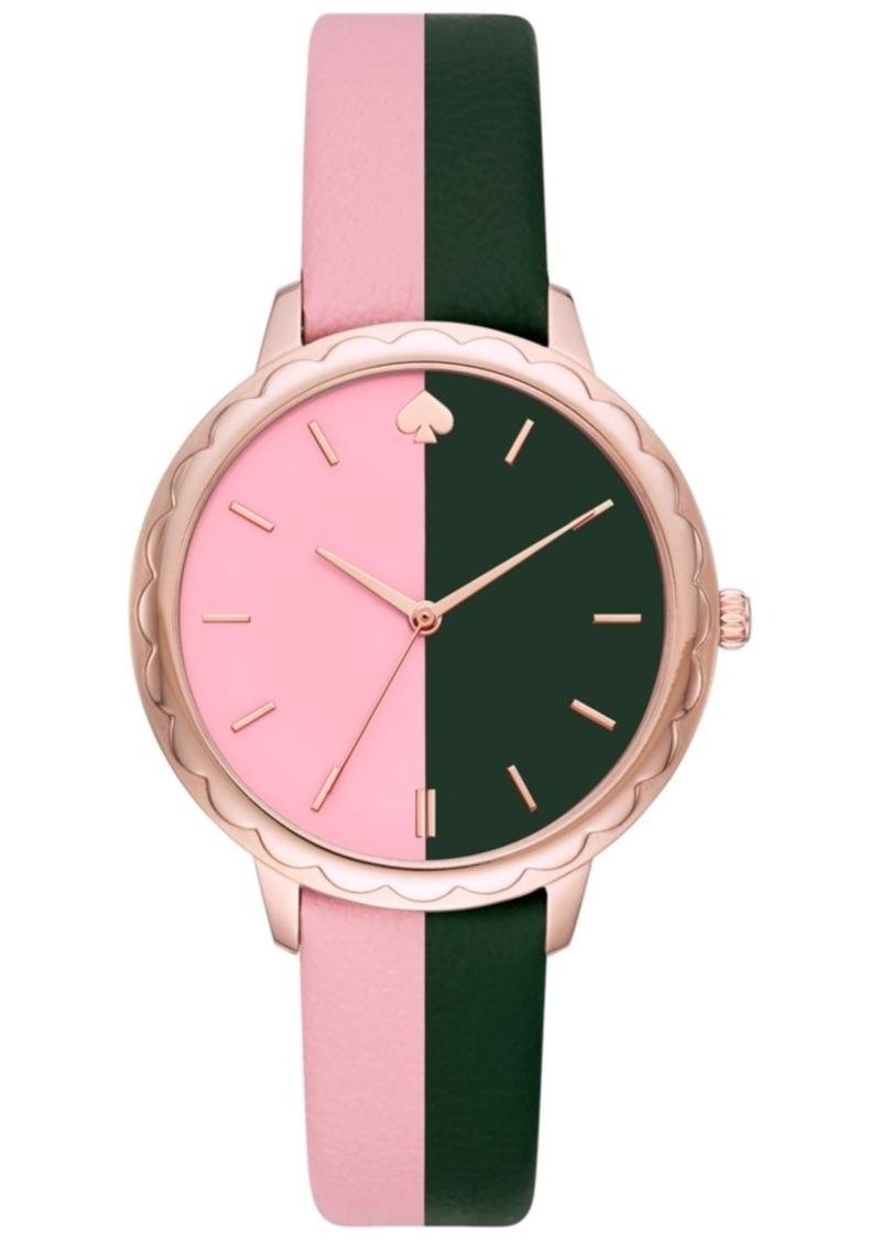 kate spade new york Women's Morningside Pink & Black Leather Strap Watch 38mm