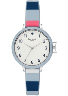 kate spade new york Women's Park Row Multicolored Striped Silicone Strap Watch 34mm