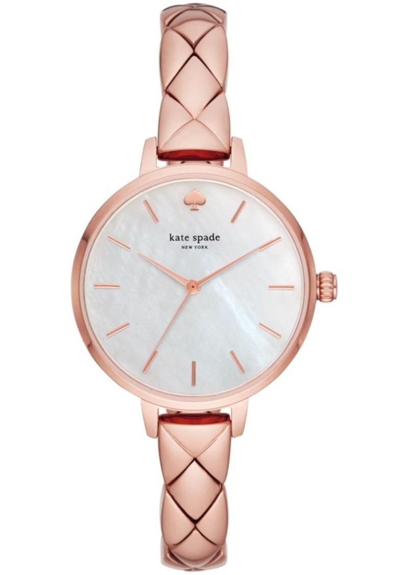 kate spade new york Women's Metro Pink Stainless Steel Bracelet Watch 34mm