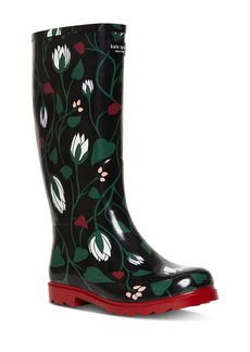 kate spade new york Women's Renata Floral-Print Tall Rain Boots