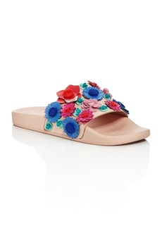 kate spade new york Women's Skye Floral Leather Pool Slide Sandals