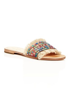 kate spade new york Women's Solaina Embellished Fringe Slide Sandals