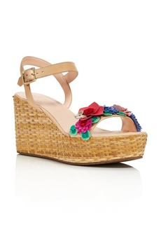 kate spade new york Women's Tinsley Leather & Floral Appliqu� Platform Wedge Sandals - 100% Exclusive