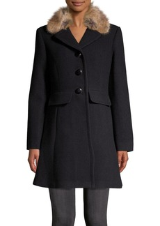 Kate Spade New York Wool Twill Faux Fur Car Coat