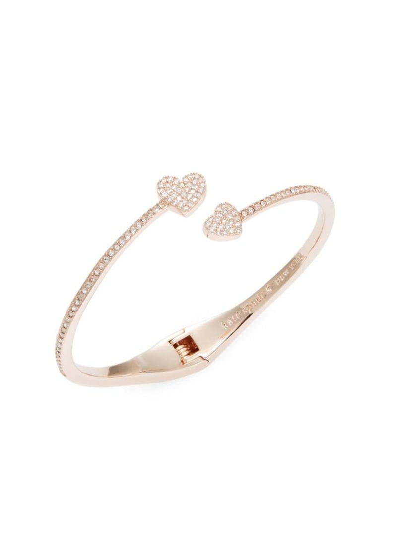 Kate Spade New York Yours Truly Heart Crystal Pavé Open Hinge Cuff Bracelet