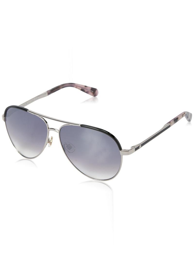 Kate Spade Women's Amarissa Aviator Sunglasses Palladium Black/Gray SF Mirror Gradient