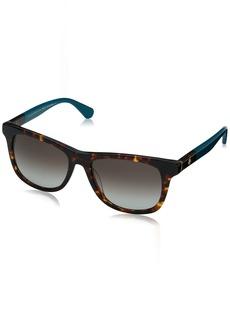 Kate Spade Women's Charmine/s Rectangular Sunglasses HAVANA TURQUOIS 53 mm