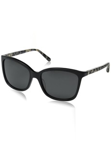 Kate Spade Women's Kasie/P/S Polarized Square Sunglasses Black Havana/Gray 55 mm