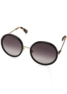 Kate Spade Women's Lamonica/s Round Sunglasses BLACK GOLD 54 mm