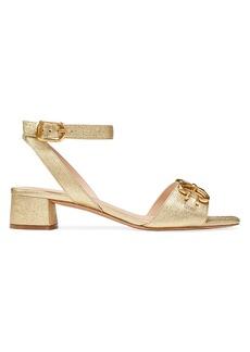 Kate Spade Lagoon Heart Chain Metallic Leather Sandals