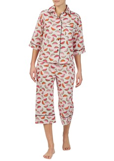Kate Spade lawn watermelon-print crop pajama set