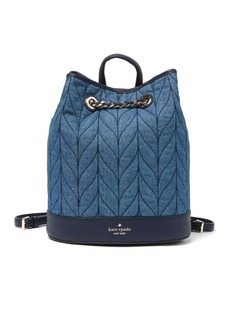 leather briar lane quilted denim bucket backpack
