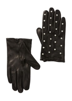Kate Spade leather imitation pearl embellished gloves