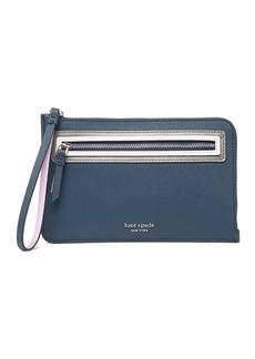 Kate Spade leather reiley shadow anchor medium l-zip wristlet wallet